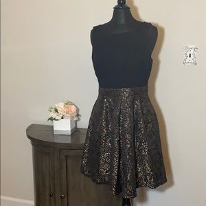 NEW Tahari Black and gold paisley cocktail dress